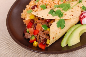 Mexican burrito with rice