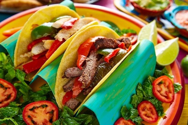 Mexican chicken and beef fajitas tacos