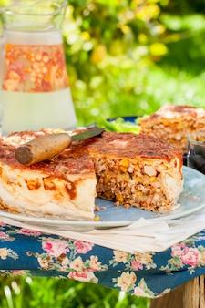 Mexican chicken and corn tortilla pie