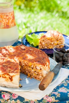 Mexican chicken and corn tortilla pie