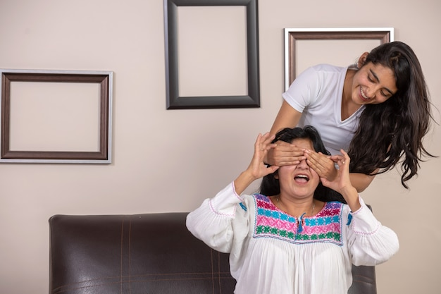 Mexican daughter surprising mom on mother's day