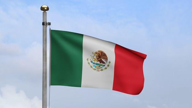 Мексиканский флаг развевается на ветру