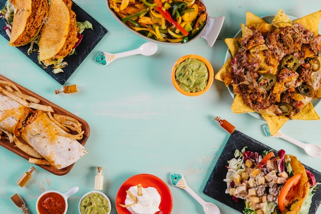 Mexican food on blue background