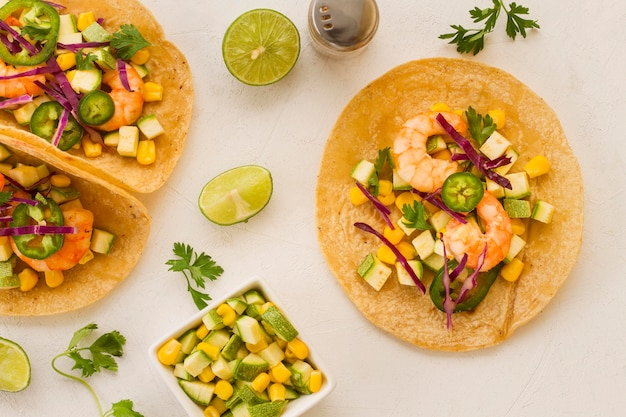 Mexican food concept with taco above view