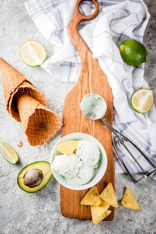 Mexican food, homemade organic lime and avocado ice cream, with ice cream cones, slices of sweet tortilla. on a grey stone table, copyspace