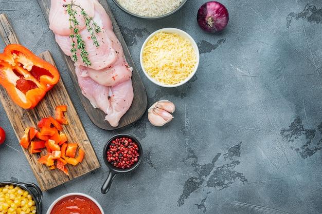 Mexican food ingredients chicken enchilada rice casserole