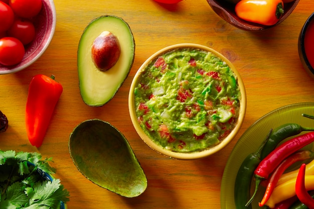 Mexican food mixed guacamole chili and avocado