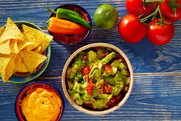 Mexican food nachos guacamole pico de gallo cheese