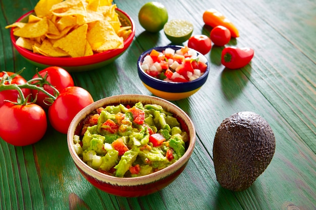 Mexican food nachos guacamole pico gallo chili