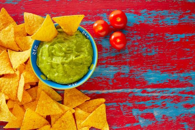 Mexican food nachos and guacamole