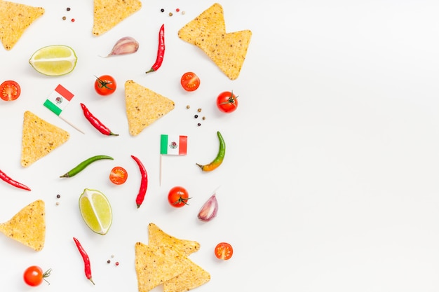Mexican food preparation cooking concept background