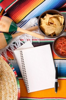 Mexican food with notebook
