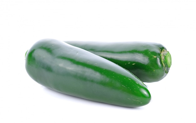 Mexican green chili pepper isolated on white