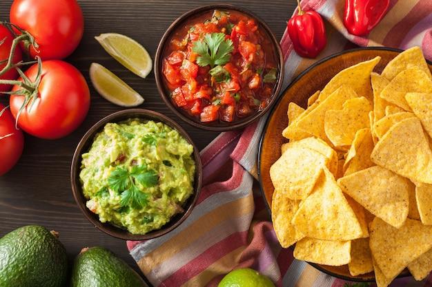 メキシコのワカモレとサルサのナチョスのディップ