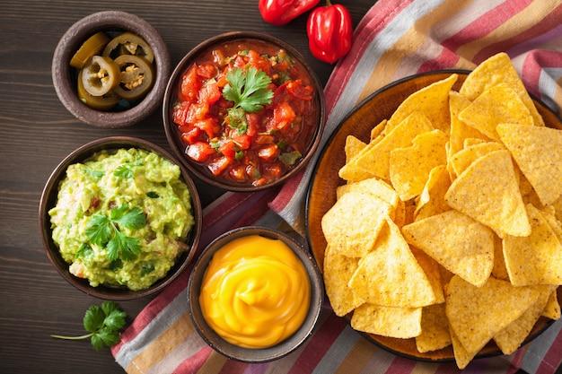 Mexican guacamole and salsa dip with nachos