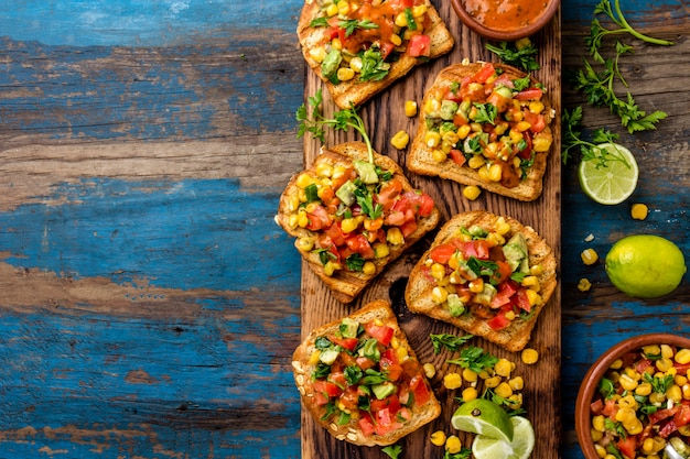 Mexican latin american style open sandwiches.