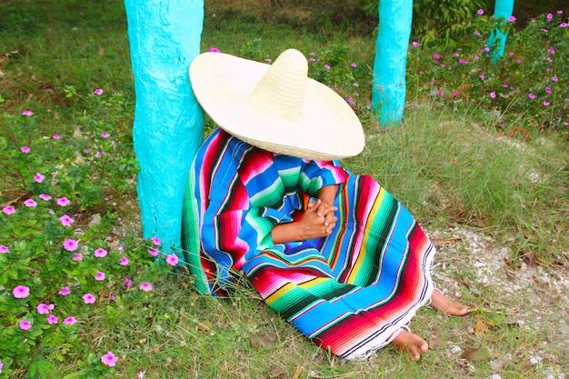 Mexican lazy sombrero hat man poncho nap garden