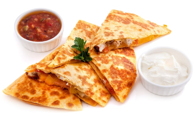Mexican quesadillas with cheese, vegetables
