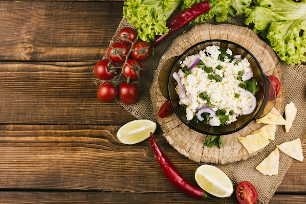 Mexican salad top view with copy space
