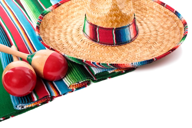 Mexican sombrero and maracas