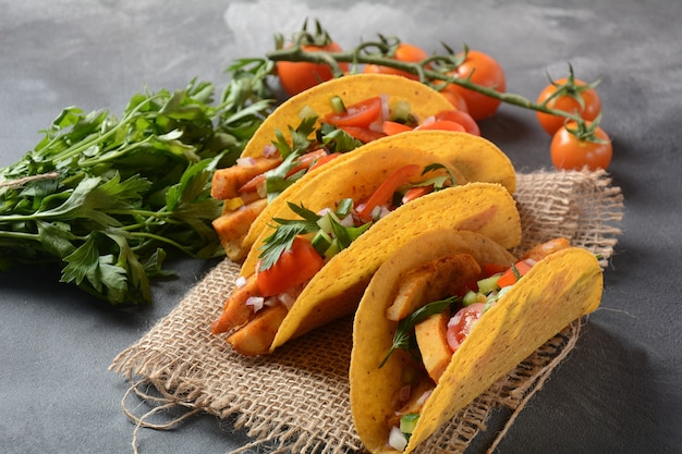 Mexican tacos with grilled chicken and vegetables