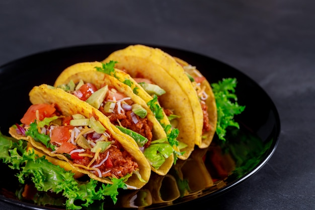Mexican tacos with vegetables vegetarian wrap sandwich