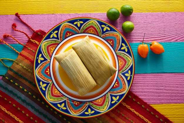 Mexican tamale tamales of corn leaves