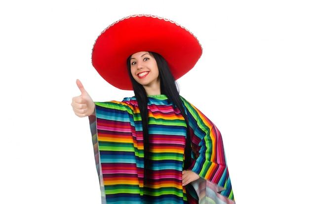 Мексиканская женщина в смешной концепции на белом