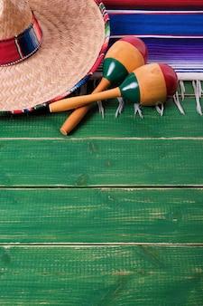 Mexico cinco de mayo border background mexican sombrero maracas vertical