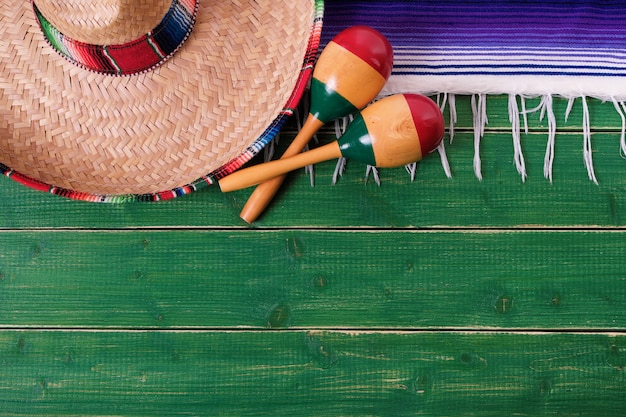 Mexico cinco de mayo border background mexican sombrero maracas