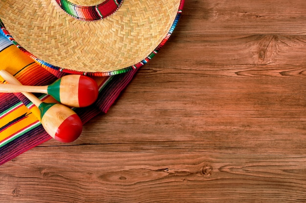 Mexico cinco de mayo wood background