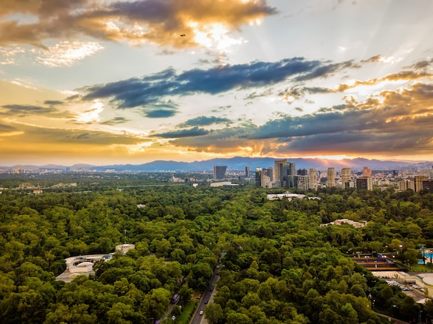Mexico city, chapultepec panoramic aerial view ,  sunset