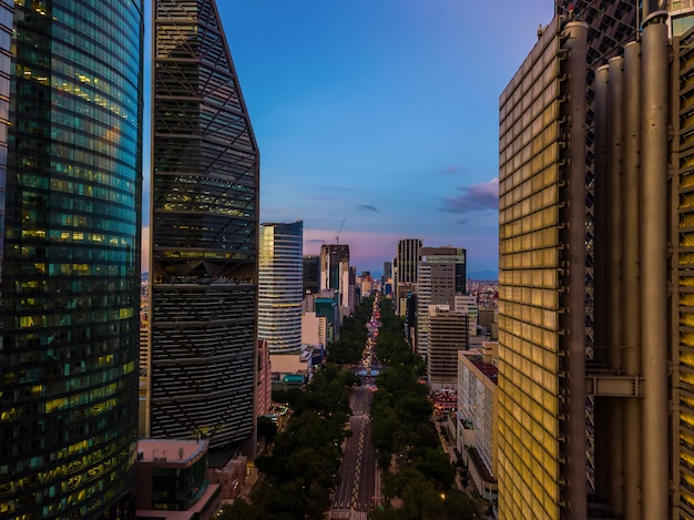 Mexico city, reforma avenue aerial view at sunset