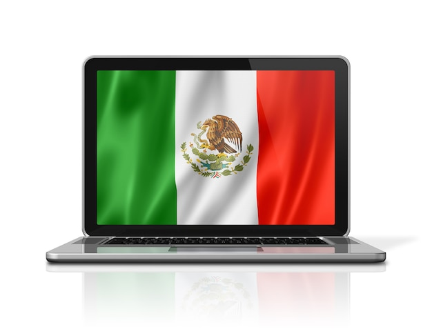 Mexico flag on laptop screen isolated on white. 3d illustration render.