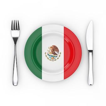 メキシコの食品または料理のコンセプト。白い背景の上のメキシコの旗とフォーク、ナイフ、プレート。 3dレンダリング