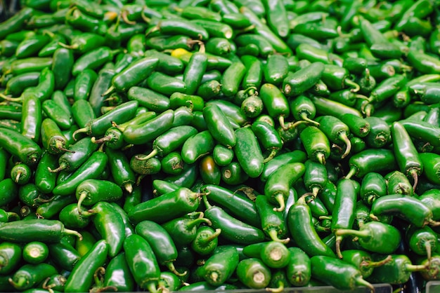 Mexico green chile peppers on the market.