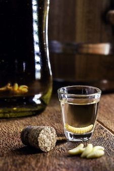 メスカル(またはメスカル)は一般に「幼虫のいるメキシコのテキーラ」として知られており、瓶の底にグサノ昆虫の幼虫がいます。幻覚剤と媚薬の特性を備えた飲み物。