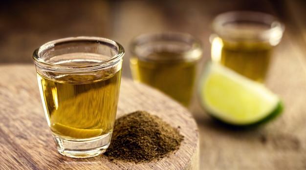 コショウの塩とリュウゼツランの幼虫、エキゾチックなメキシコの飲み物、珍しいタイプのテキーラを添えたメスカル