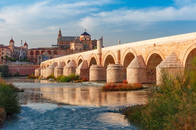 Mezquita and roman bridge in cordoba, spain