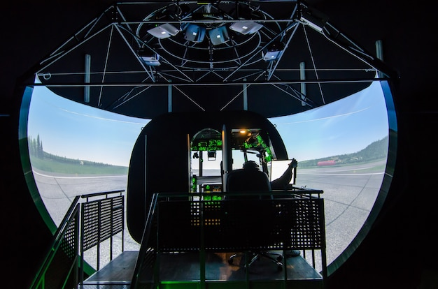 Mi-8 helicopter with a control panel simulator