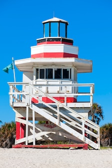 Miami beach florida, famous lifeguard house in a typical colorful art deco style
