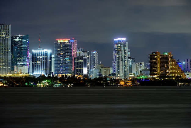Miami business district, lights and reflections of the city lights. miami.