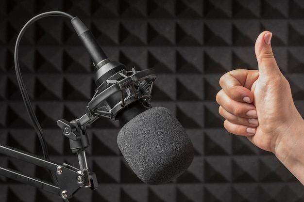 Mic and hand surrounded by acoustic isolation foam