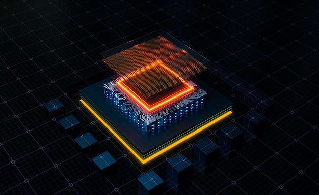 전력선 회로가 있는 cpu 구조의 마이크로 회로, 3d 그림 렌더링