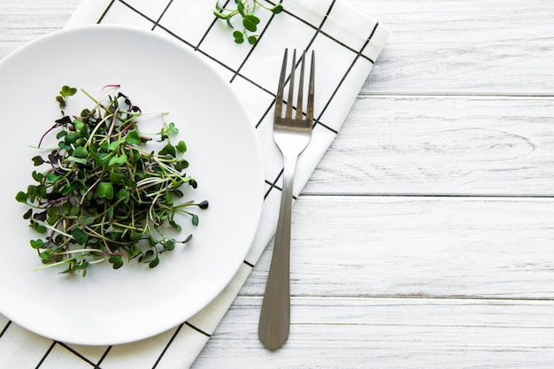 흰색 표면에 접시에 마이크로 채소