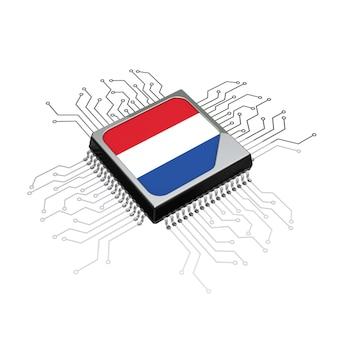 흰색 바탕에 회로와 네덜란드 국기가 있는 마이크로칩 cpu 프로세서. 3d 렌더링
