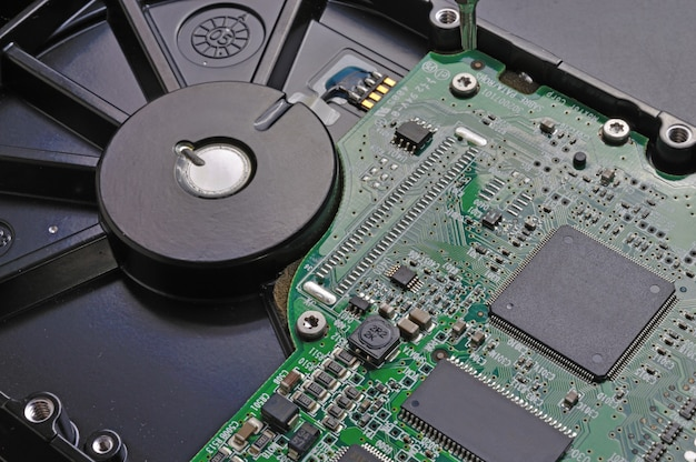 Microchip of a hard drive removed from a computer