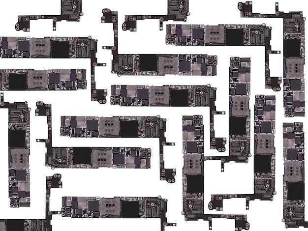 격리 된 흰색 배경에 마이크로 칩 텍스처