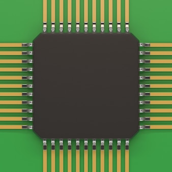 Microchip unit on green plate