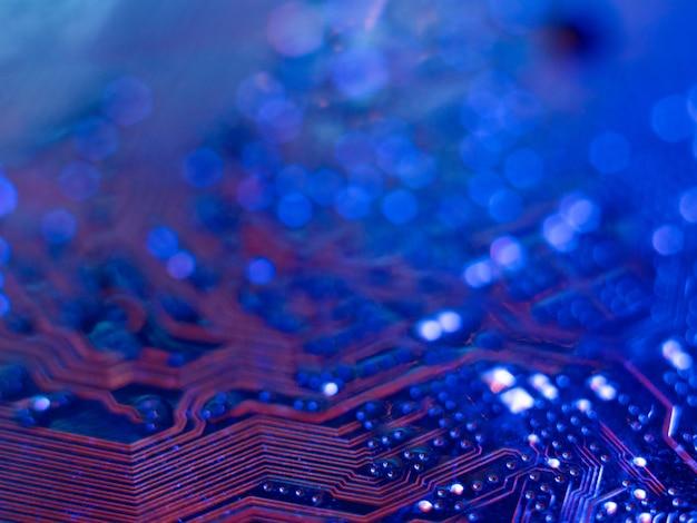 마이크로칩 컴퓨터 보드 근접 촬영 낮은 피사계 심도